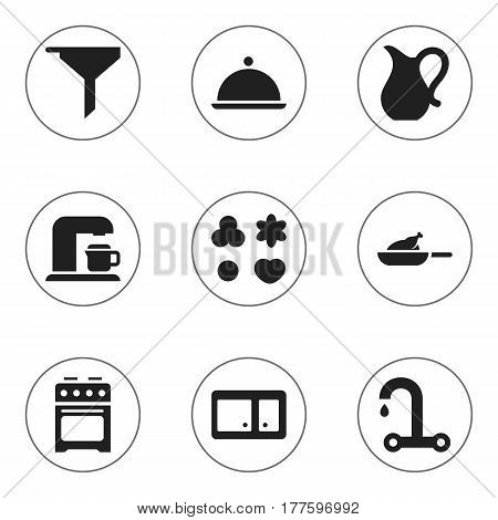 Set Of 9 Editable Cook Icons. Includes Symbols Such As Shortcake, Grill, Salver And More. Can Be Used For Web, Mobile, UI And Infographic Design.