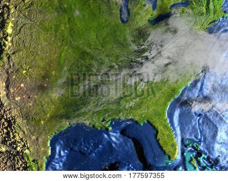 East Coast Of Usa On Earth - Visible Ocean Floor