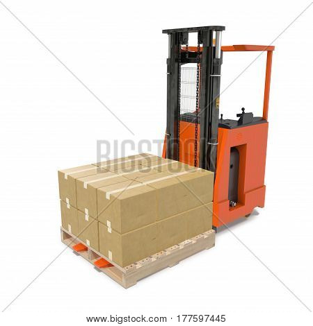 Modern forklift truck with boxes on wooden pallet isolated on white background. 3D illustration