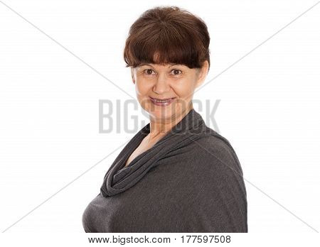 Pension age good looking woman portrait against of white