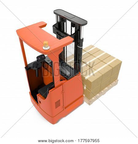 Orange industrial fork lifter for cargo isolated on white background. 3D illustration
