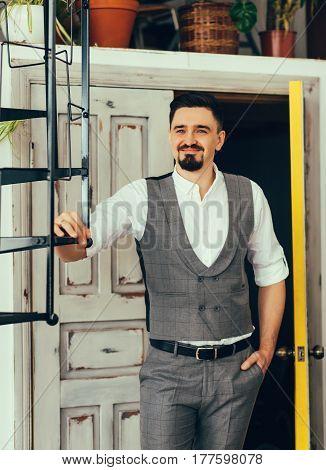 Elegant man in a vest. Stylish groom