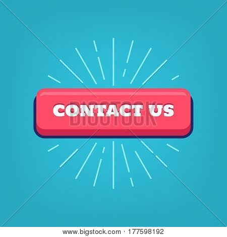 Contact us button with rays for customer support inquiry hotline. Vector