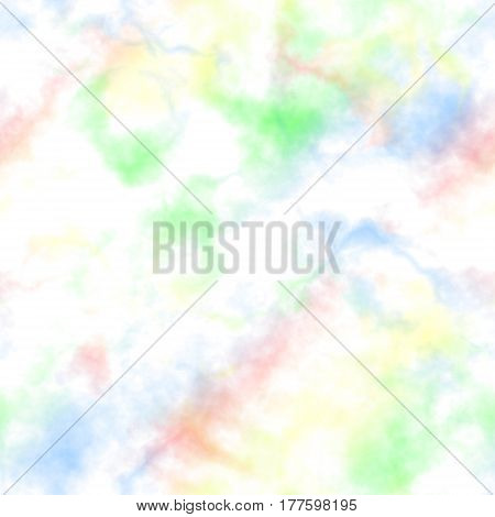 Abstract colorful smoke on white background, Multicolor clouds, Rainbow colored cloudy pattern, Blurry texture, Blurs, Gas, Steam, Fog, Seamless illustration