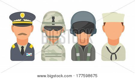 Set icon character military people. Soldier, officer, pilot, marine, sailor. Vector flat illustration on turquoise circle.