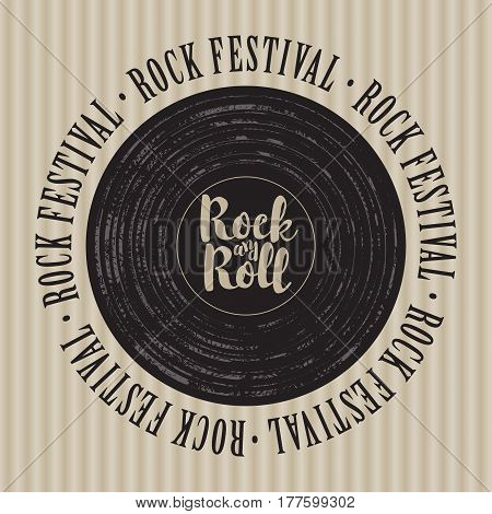square banner with a vinyl record inscription rock-n-roll and the words rock festival written around