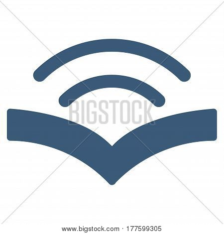 Audiobook vector icon. Flat blue symbol. Pictogram is isolated on a white background. Designed for web and software interfaces.