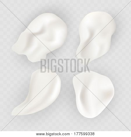 Vector cream swatches isolated on white transparent background. White cream smudge, vector illustration. Beauty cream product.