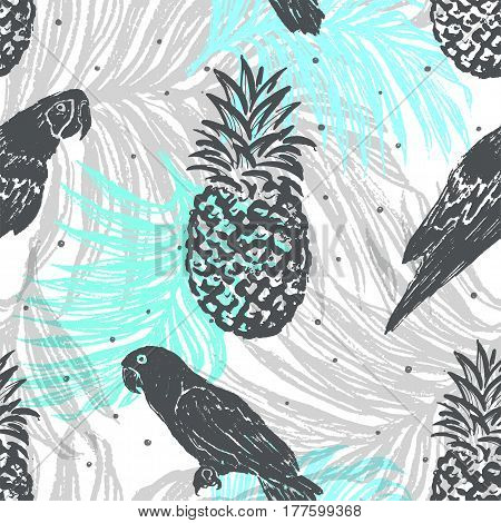 Ink hand drawn Jungle seamless pattern with Parrots and Pineapples on Palm leaves background