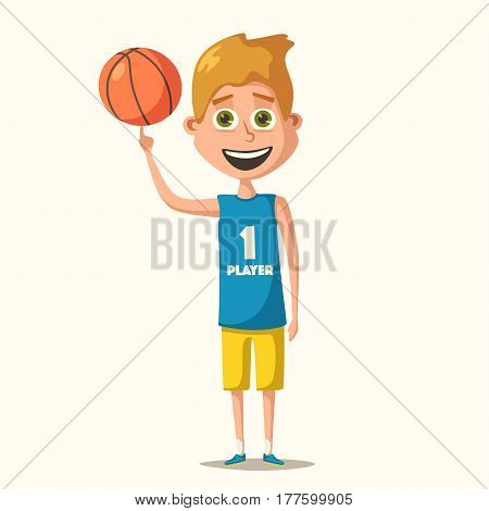 Little basketball player in uniform with the ball. Cartoon vector illustration. Kid character