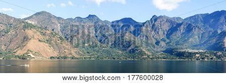 Panoramic view of lake Atitlan on Guatemala