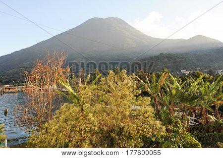 San Pedro la Laguna, Guatemala - 12 February 2014: Village and vulcano of San Pedro on lake Atitlan Guatemala