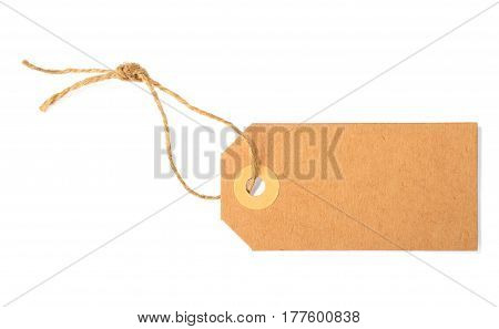 blank paper tag isolated over white background