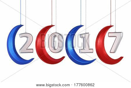 3d render New year 2017 and moon shape christmas decorations (isolated on white and clipping path)