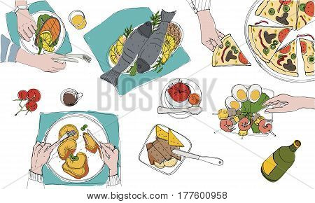 Festive tableful, laid table, holidays hand drawn colorful illustration. top view