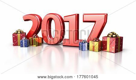 3d render new year 2017 and gift box (isolated on white and clipping path)