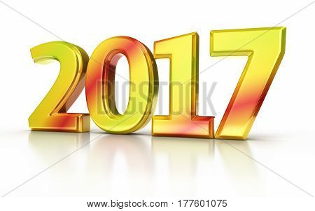 3d render new year 2017 colorful (isolated on white and clipping path)