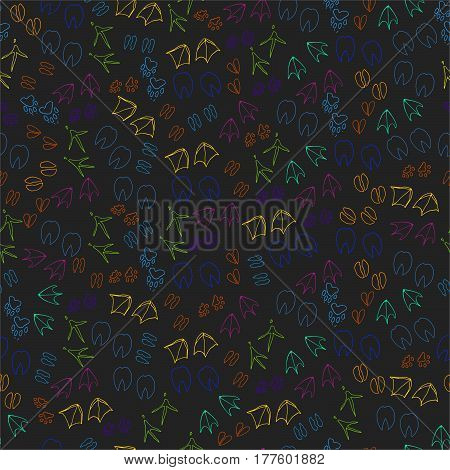 Animal vector pattern. Poultry pet steps on a black background.