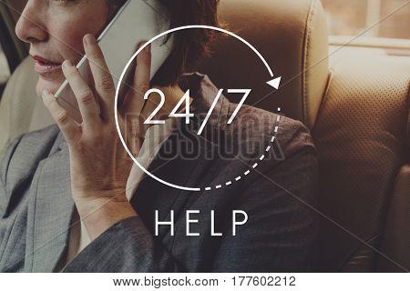 24/7 Help desk customer service overlay