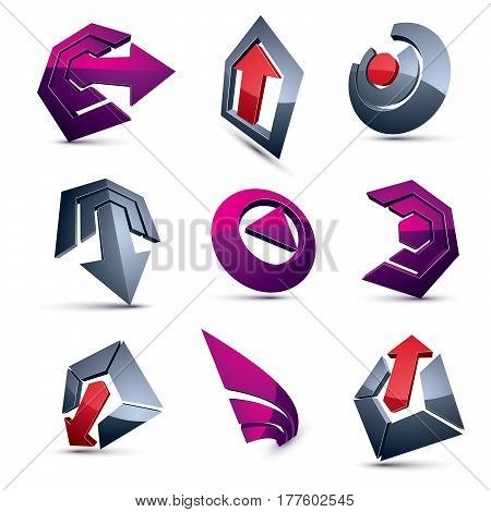 Vector Multimedia Signs Collection Isolated On White Background. 3D Colorful Abstract Design Element