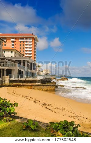 Caribbean waves coming on the Puerto Rico beach
