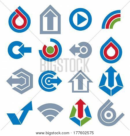 Blue Vector App Buttons. Collection Of Arrows, Direction Icons And Different Business Corporate Grap