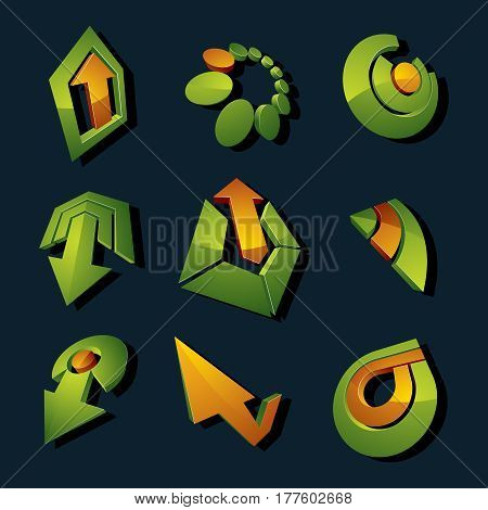 Vector 3D Simple Navigation Pictograms Collection. Set Of Green Corporate Abstract Design Elements.