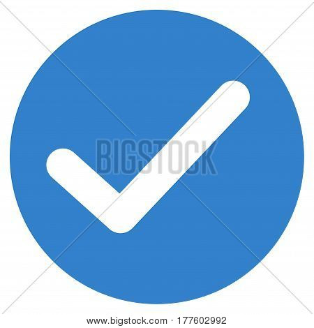Apply vector icon. Flat cobalt symbol. Pictogram is isolated on a white background. Designed for web and software interfaces.