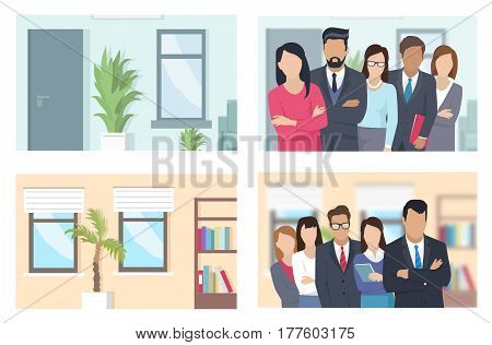 Business people of different positions in working environment. Vector illustration of such employees as chief in expensive suit, responsible deputy chief, executive manager and simple employees.