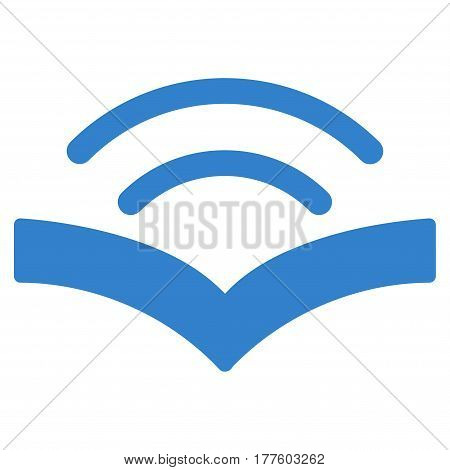 Audiobook vector icon. Flat cobalt symbol. Pictogram is isolated on a white background. Designed for web and software interfaces.