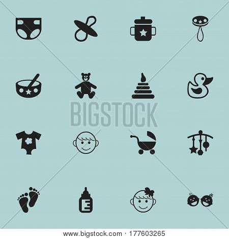 Set Of 16 Editable Child Icons. Includes Symbols Such As Cheerful Child, Footmark, Stroller And More. Can Be Used For Web, Mobile, UI And Infographic Design.