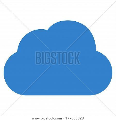 Cloud vector icon. Flat cobalt symbol. Pictogram is isolated on a white background. Designed for web and software interfaces.