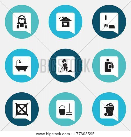Set Of 9 Editable Cleanup Icons. Includes Symbols Such As Container, Pure Home, Wc Cleaning And More. Can Be Used For Web, Mobile, UI And Infographic Design.
