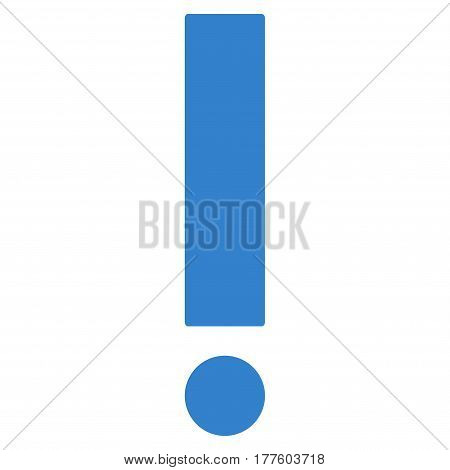 Exclamation Sign vector icon. Flat cobalt symbol. Pictogram is isolated on a white background. Designed for web and software interfaces.
