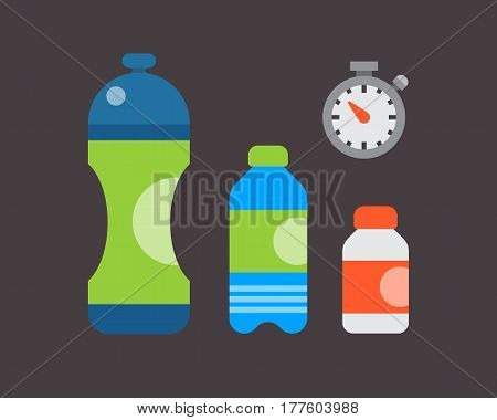 Water plastic sport bottle transparent mineral beverage blank refreshment natureclean liquid environment element vector illustration. Aqua fluid template sport food healthy drink.