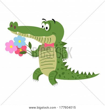 Cartoon crocodile with flowers isolated on white background. Cute big reptile with pink bow and bouquet vector illustration. Drawn friendly croc going to make present at the party in flat style