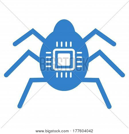 Hardware Bug vector icon. Flat cobalt symbol. Pictogram is isolated on a white background. Designed for web and software interfaces.