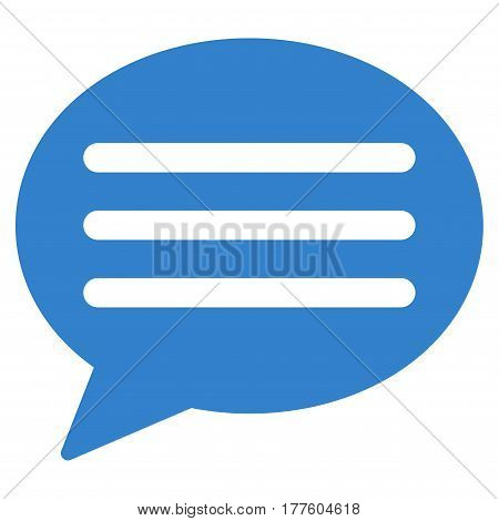 Message Cloud vector icon. Flat cobalt symbol. Pictogram is isolated on a white background. Designed for web and software interfaces.