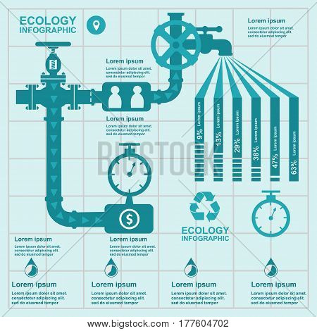 Ecology Infographic, Water On Flat Design