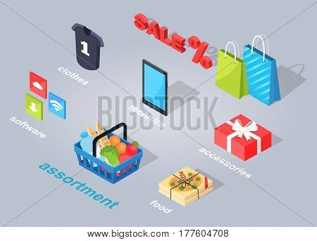 Set of electronic commerce. Vector illustration of three icons of software, assortment of products, italian food, accessories in red present, mobile phone of technics, summer clothes, interest sale.