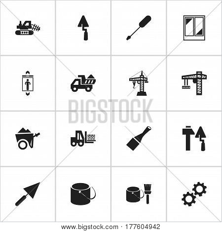 Set Of 16 Editable Structure Icons. Includes Symbols Such As Balcony, Turn-Screw, Crane And More. Can Be Used For Web, Mobile, UI And Infographic Design.