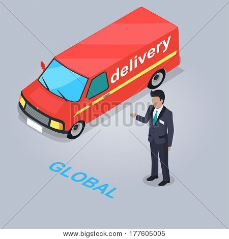 Global delivery service vector illustration. Red bus with online shop purchases and Internet assistant in suit isolated on grey background. Fast and safe delivery of purchases to any destination.