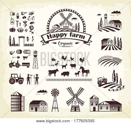 Set of happy farm organic production in cartoon style. Vector illustration of animal husbandry, plant growing, tools and machines for cultivating and processing. Icon for web hand drawn pattern.