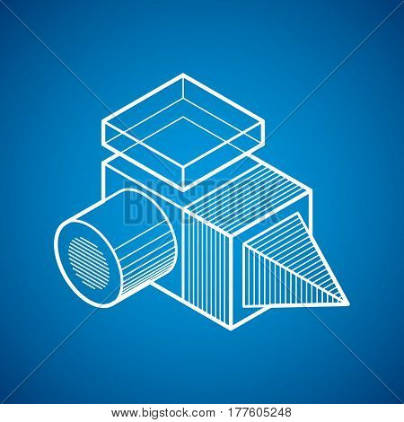 3D Design, Abstract Vector Dimensional Cube Shape.