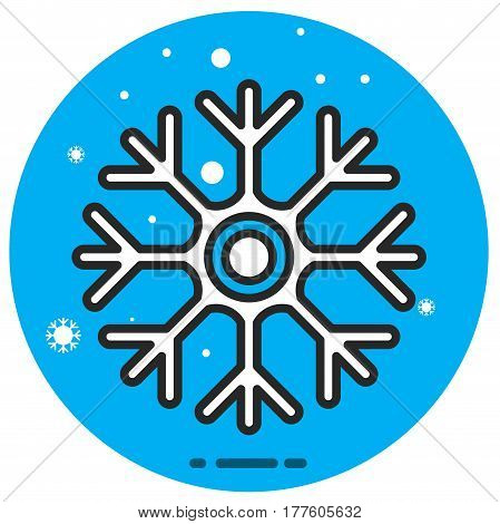 Vector icon of cold sign depicting snowflake flat