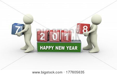 3d rendering of person placing digit 7 cube of happy new year 2018 . 3d people man character