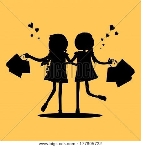 Silhouettes of girls with shopping bags friends forever. Vector illustration of unknown unrecognizable women holding packages from shop. Female friendship vector illustration in flat style design.