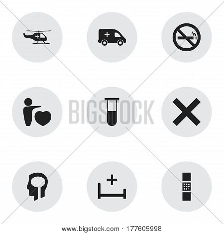 Set Of 9 Editable Clinic Icons. Includes Symbols Such As Clinic Room, No Check, Emergency And More. Can Be Used For Web, Mobile, UI And Infographic Design.