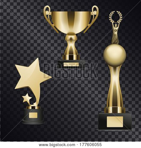 Golden trophy cups for outstanding sport, music and acting achievements isolated on black transparent background. Goblets for successful contest participation and epic win vector illustration.