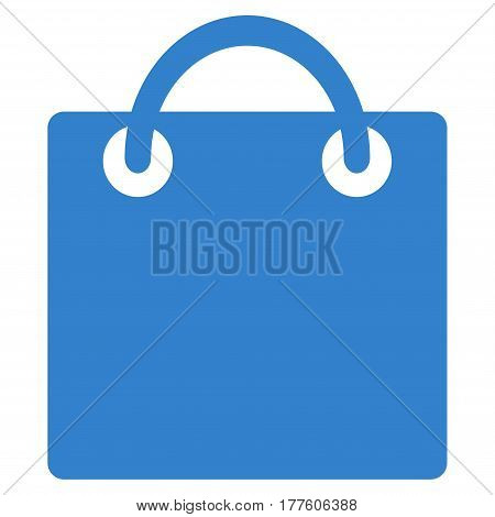 Shopping Bag vector icon. Flat cobalt symbol. Pictogram is isolated on a white background. Designed for web and software interfaces.